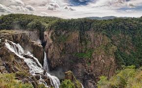 Montagne, cascata, cielo, natura