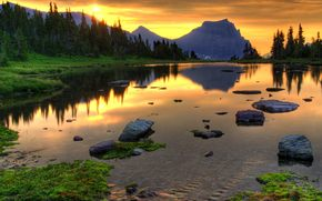 tramonto, montagna, foresta, lago, pietre