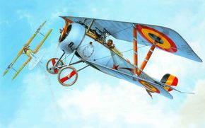 plane, time, fighter, Art, French, participated, Company, in, First World War.