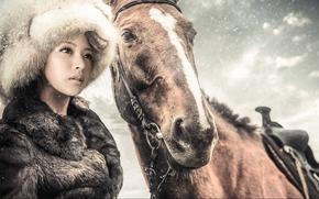 fur, Winter, cap, girl, fur coat, horse, horse, snow