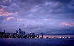 Chicago, Chicago, Amrique, USA, Gratte-ciel, soire, lumires