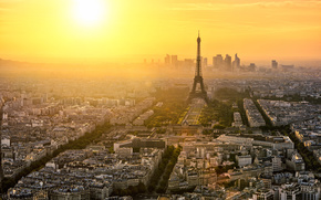 Paris, france, Paris, France, city, Morning, dawn, eiffel tower, la tour eiffel, Eiffel Tower, home, building, Street, road, Trees, architecture, panorama