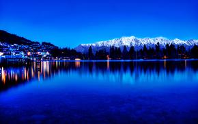 Montagnes, pin, lac, Ville, crpuscule, lumires, rflexion