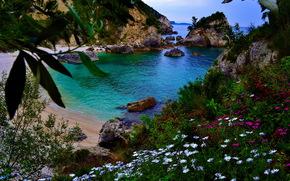 costa, Grecia, paesaggio, Rarga, erba, natura