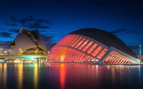 Espagne, Valence, La Cit des Arts et des Sciences, Ensemble architectural, lumires, clairage, lumires, pont, rivire, nuit, Bleu, ciel, nuages, rflexion