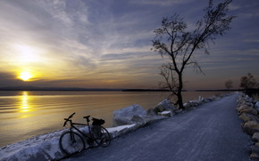 road, river, sunset, bicycle, landscape