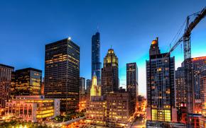Chicago, llinois, USA, Chicago, Illinois, USA, Ville, soire, maison, btiment, haut, Gratte-ciel, Immeubles de grande hauteur, lumires, clairage, lumire, route