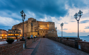 napoli, italia, italy, Naples, Italy, castel dell'ovo, Castel del Ovo, castle, fortress, Mediterranean, Tyrrhenian, sea, bridge, lights, evening, city, lights