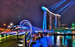 city, singapor, Singapore hotel, hotel, Lasers, building, bridge, lighting.