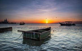 mare, Barche, tramonto