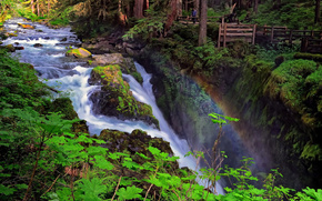 sol duc falls, olympic national park, washington, водопад, радуга, река, лес