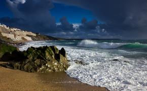 porthleven, england, England, sea, waves, stones, coast