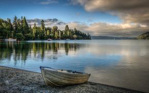 lake wakatipu, queenstown, new zealand, озеро Уакатипу, Новая Зеландтя, лодка