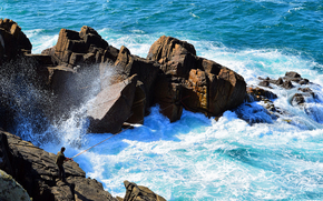 sea, rocks, waves, fisherman, landscape