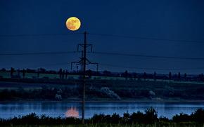 landscape, night, moon