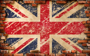 United Kingdom, England, flag, wall, Bricks, grunge