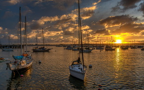 bay, San Diego, Yacht, sunset