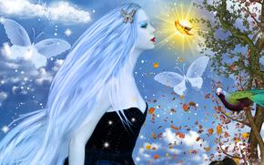 фантастика, арт, девушка, профиль, лицо, белые волосы, макияж, природа, бабочки, птица, дерево, листья, небо, облака