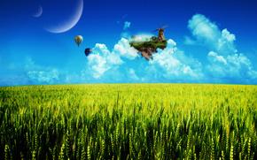 поле, остров, воздушные шары