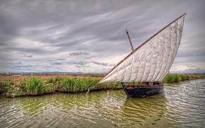 river, sailing ship, landscape