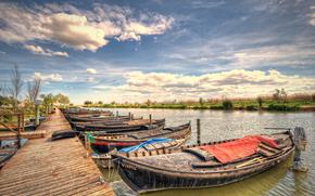 Al-Port-de-catarroja, Valencia, Barche, fiume, paesaggio