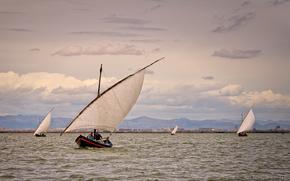 Valencia, fiume, Barche a vela, paesaggio