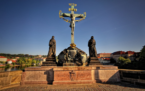Statue of the Crucifixion, the Charles Bridge, Prague
