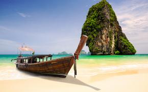krabi, thailand, phang nga bay, Краби, Таиланд, залив Пхангнга, лодка, островок, скала