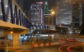 Hong Kong, noche, Rascacielos, calle, carretera, puente, luces, publicidad