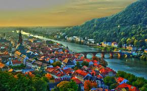 heidelberg, germany, neckar river, Heidelberg, Germany, Neckar River, bridge, building, Roof, hill, sunset, panorama