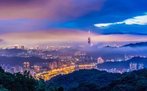 Porcellana, Taiwan, Taipei, citt, sera, crepuscolo, Montagne, Hills, alberi, foschia, nebbia, Blu, cielo, nuvole, tempesta, torre, edificio, casa, semaforo, illuminazione, vista, altezza, panorama