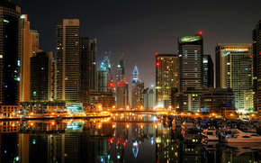Dubai, city, marina, dubai, night, Port, boats, Yacht, high-rise, house.
