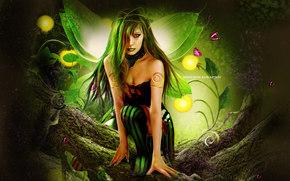 фантастика, фея, крылья, взгляд, волосы, макияж, узоры, бабочки, дерево, зеленое, природа