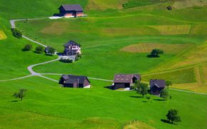 Brgenstock, switzerland, field, Hills, home, landscape, view from the top