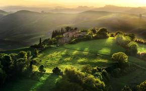 Италия, Тоскана, дом, деревья, утро