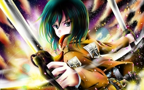 art, aka kitsune, girl, mikasa ackerman, view, dissatisfaction, Blades, bright colors, shingeki no kyojin