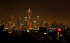 Город Сиэтл, штат Вашингтон, США, дома, огни