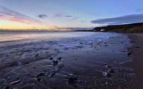 海滩, 海, 沙, 石头, 日落