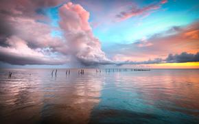 oceano, acqua, cielo, nuvole, orizzonte