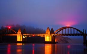 штат Орегон, река, мост, ночь, огни