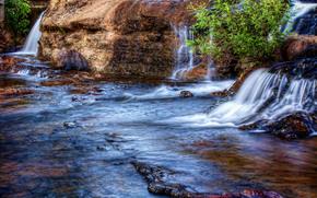 Oregn, ro, saltos de agua, rocas, paisaje