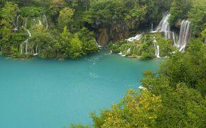 вода, водопады, деревья
