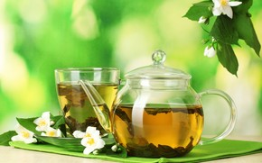green, background, tea, Which, Decreases, Pressure, and, Gives, Borost