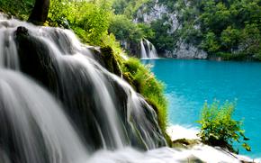 paesaggio, cascata, lago
