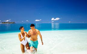 oceano, mar, trpicos, ilha, Maldivas, recreao