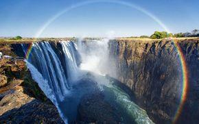 пейзаж, водопад, радуга, каньон