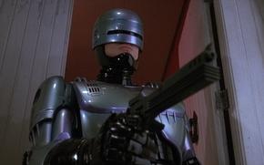 Robocop, RoboCop, Cyborg, gun, weapons.
