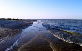 morze, zatoka, wieczorem. Morze Azowskie, taganrozhsky bay side Azowskiego.