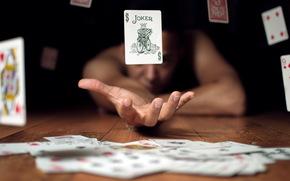 buena suerte, tarjetas, situacin, mano