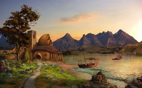 lake, Ships, sailing ship, Art, Mountains, home